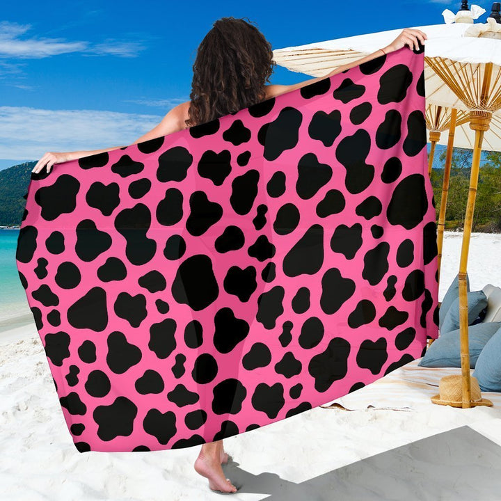 Black And Hot Pink Cow Print Beach Sarong Wrap GearFrost