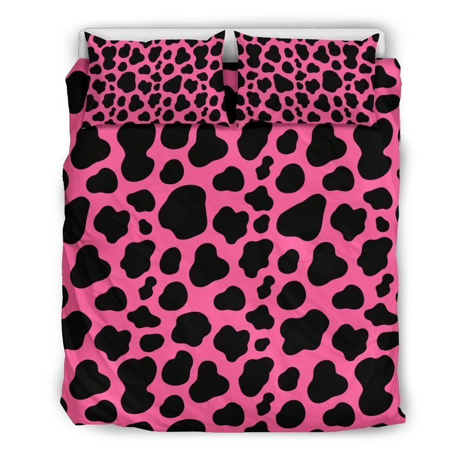 Black And Hot Pink Cow Print Duvet Cover Bedding Set GearFrost