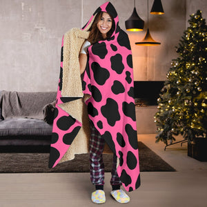 Black And Hot Pink Cow Print Hooded Blanket GearFrost