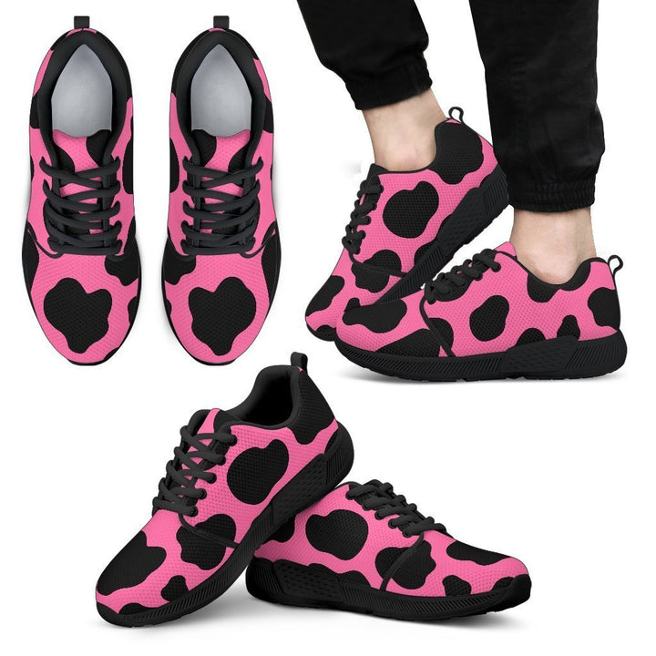 Black And Hot Pink Cow Print Men's Athletic Shoes GearFrost
