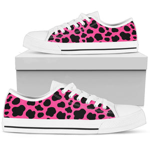 Black And Hot Pink Cow Print Men's Low Top Shoes GearFrost