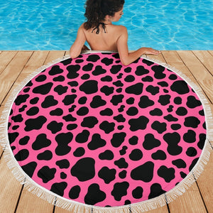 Black And Hot Pink Cow Print Round Beach Blanket GearFrost