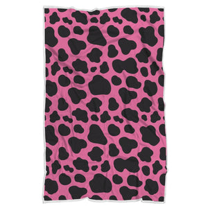 Black And Hot Pink Cow Print Sherpa Blanket GearFrost