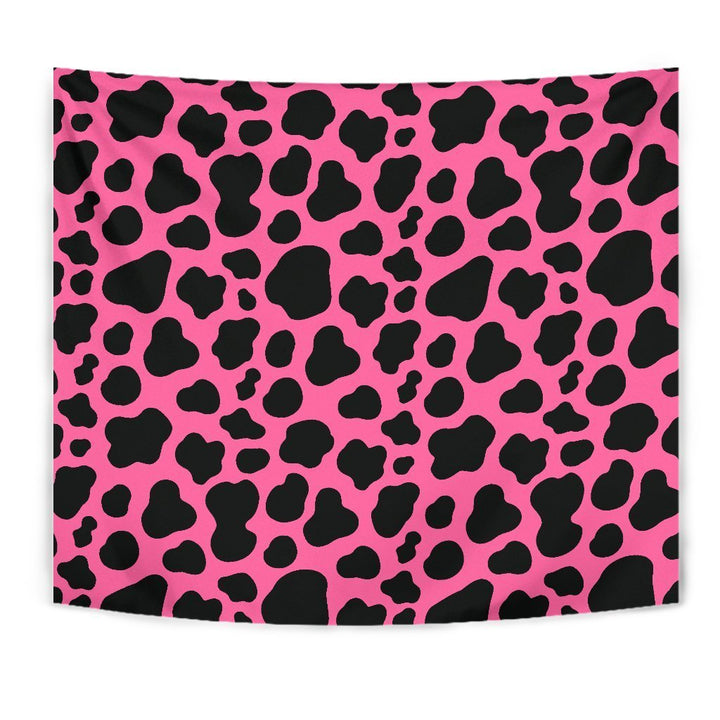 Black And Hot Pink Cow Print Wall Tapestry GearFrost