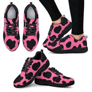 Black And Hot Pink Cow Print Women's Athletic Shoes GearFrost