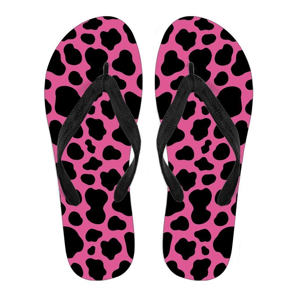 Black And Hot Pink Cow Print Women's Flip Flops GearFrost