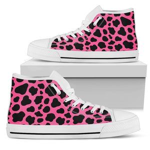 Black And Hot Pink Cow Print Women's High Top Shoes GearFrost