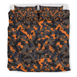 Black And Orange Camouflage Print Duvet Cover Bedding Set GearFrost
