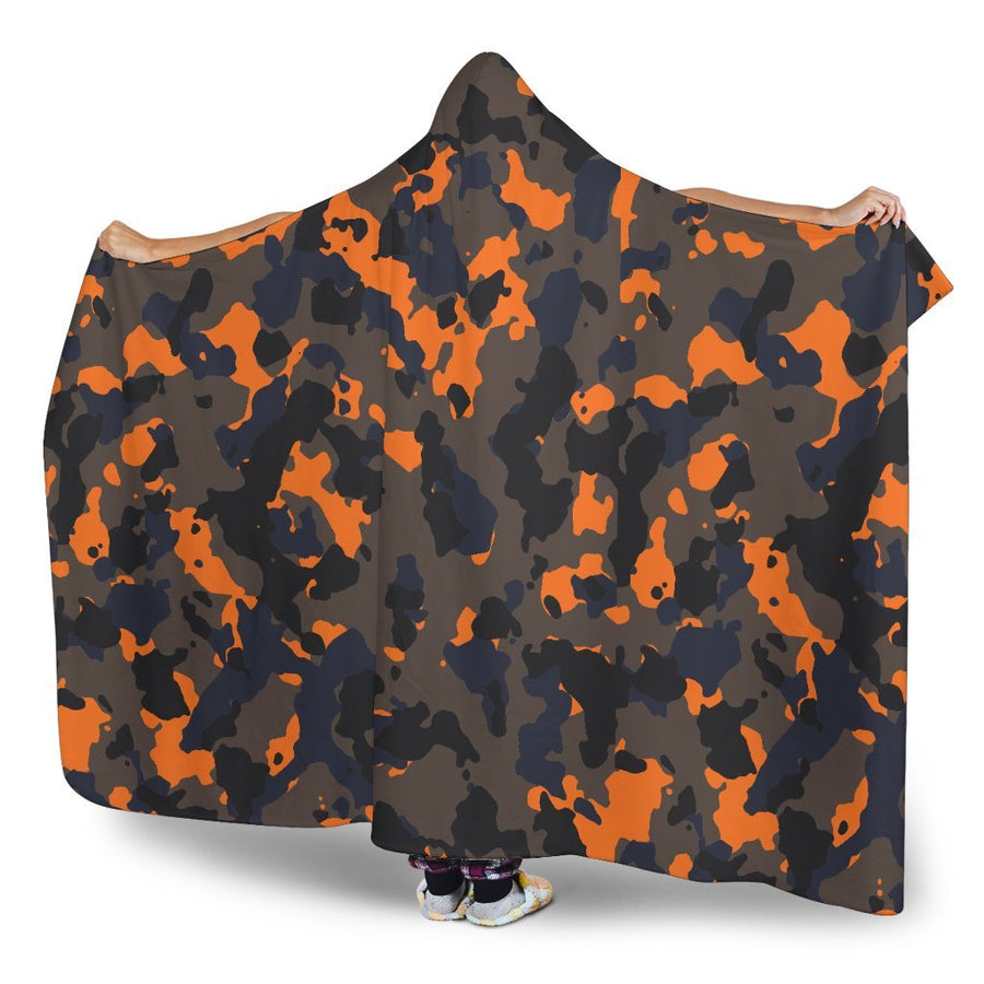 Black And Orange Camouflage Print Hooded Blanket GearFrost