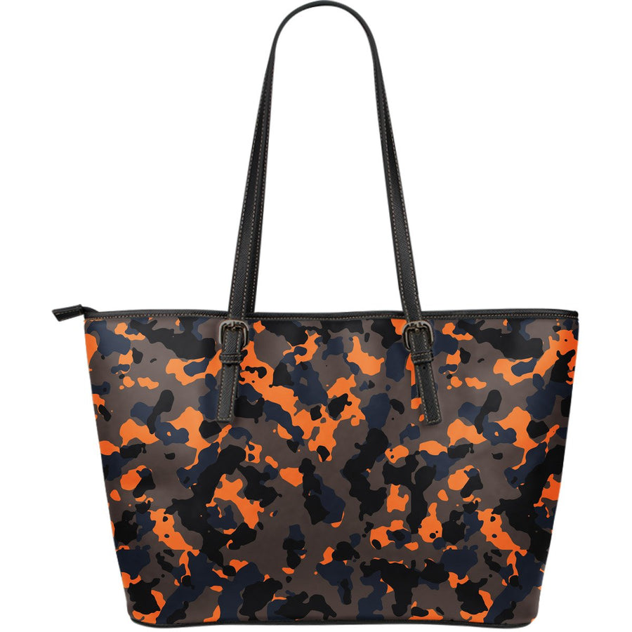 Black And Orange Camouflage Print Leather Tote Bag GearFrost