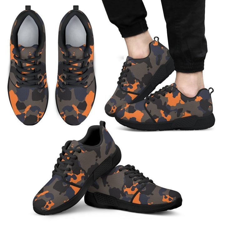Black And Orange Camouflage Print Men's Athletic Shoes GearFrost