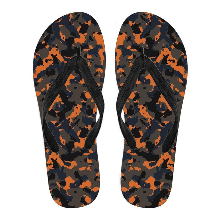 Black And Orange Camouflage Print Men's Flip Flops GearFrost