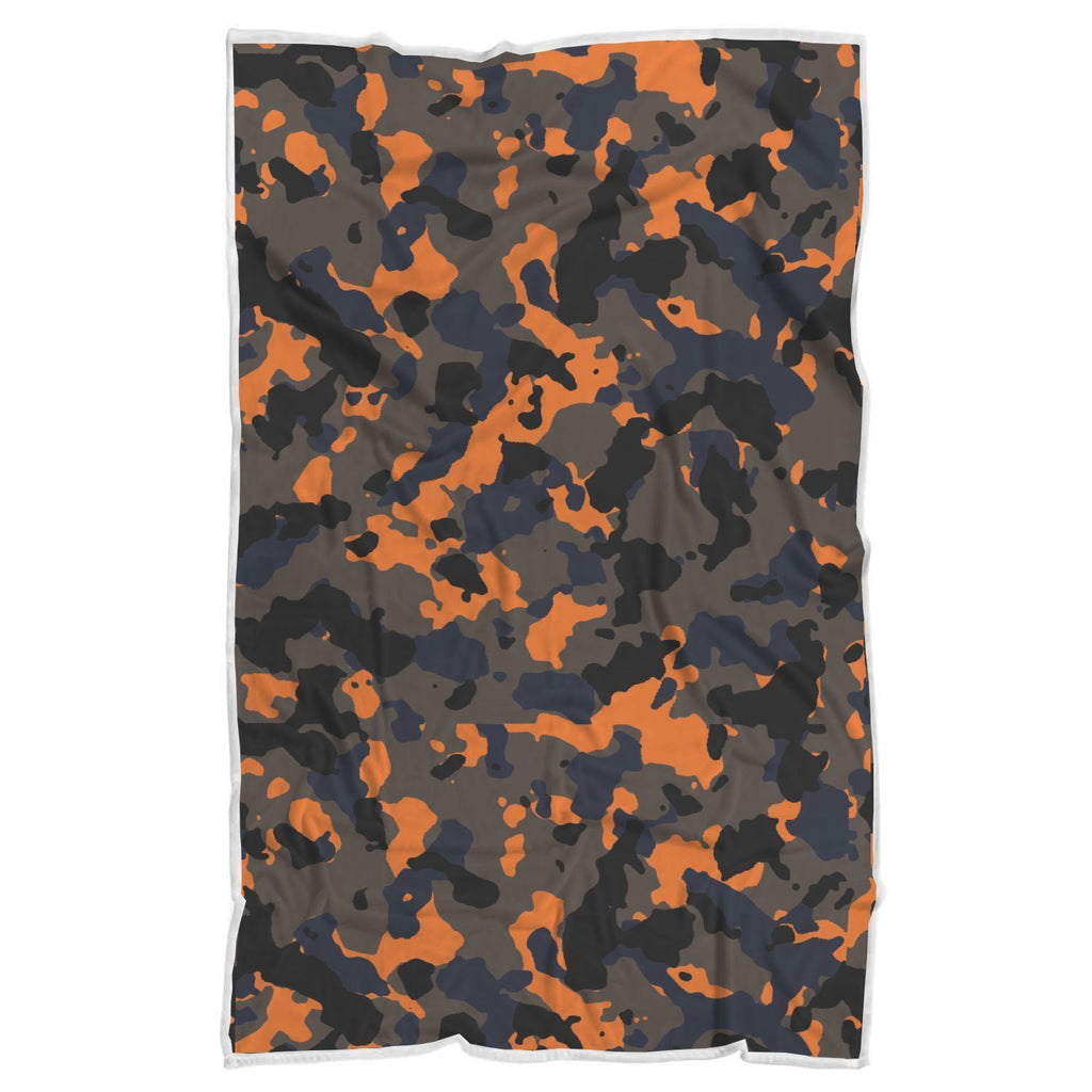 Black And Orange Camouflage Print Sherpa Blanket GearFrost