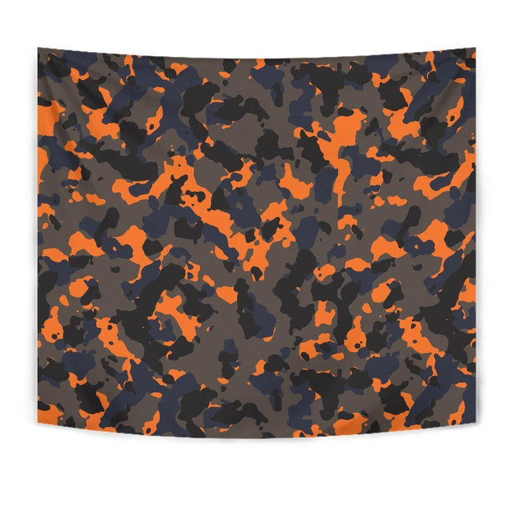 Black And Orange Camouflage Print Wall Tapestry GearFrost
