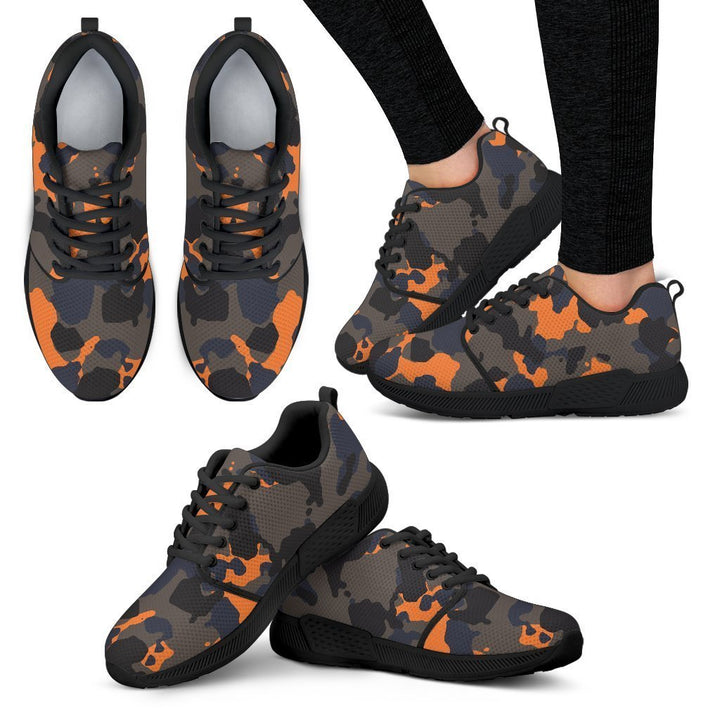 Black And Orange Camouflage Print Women's Athletic Shoes GearFrost