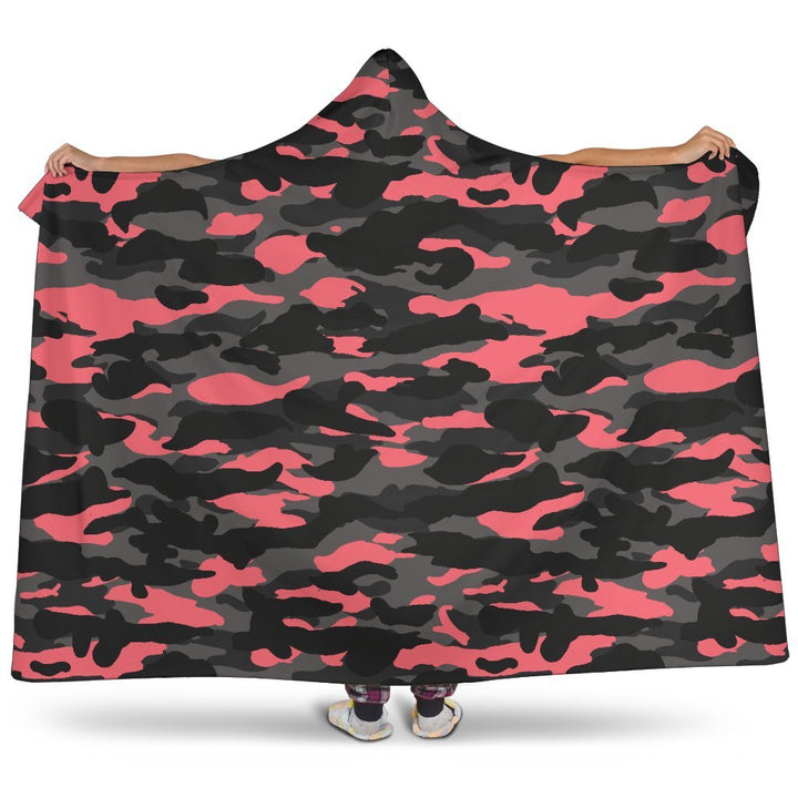 Black And Pink Camouflage Print Hooded Blanket GearFrost