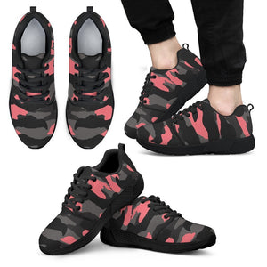 Black And Pink Camouflage Print Men's Athletic Shoes GearFrost