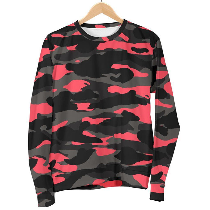 Black And Pink Camouflage Print Men's Crewneck Sweatshirt GearFrost