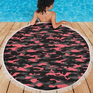 Black And Pink Camouflage Print Round Beach Blanket GearFrost
