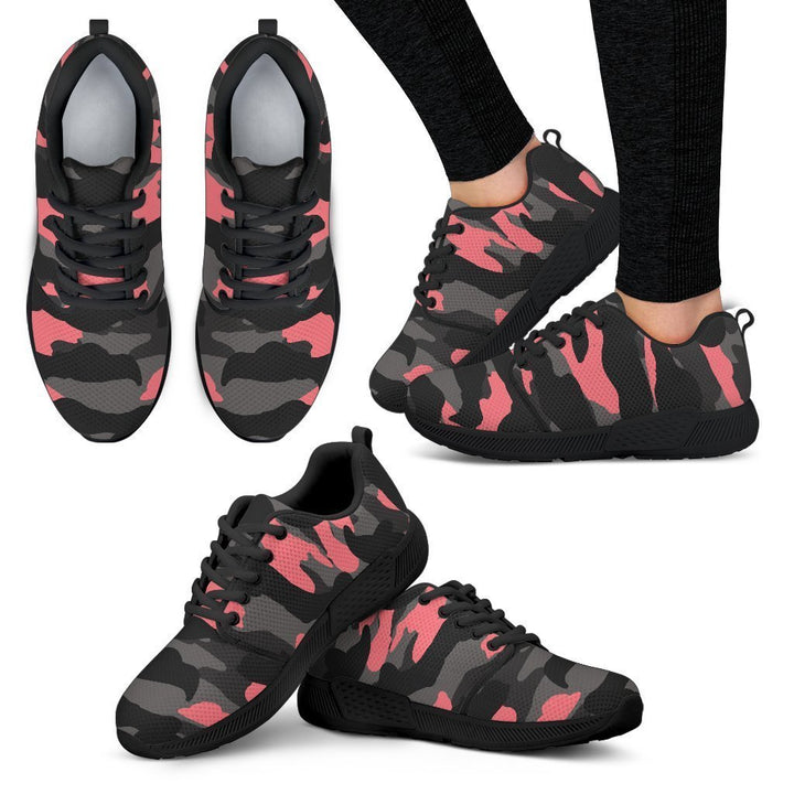 Black And Pink Camouflage Print Women's Athletic Shoes GearFrost
