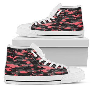 Black And Pink Camouflage Print Women's High Top Shoes GearFrost