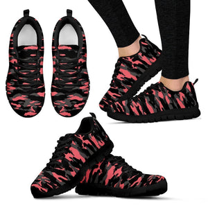Black And Pink Camouflage Print Women's Sneakers GearFrost