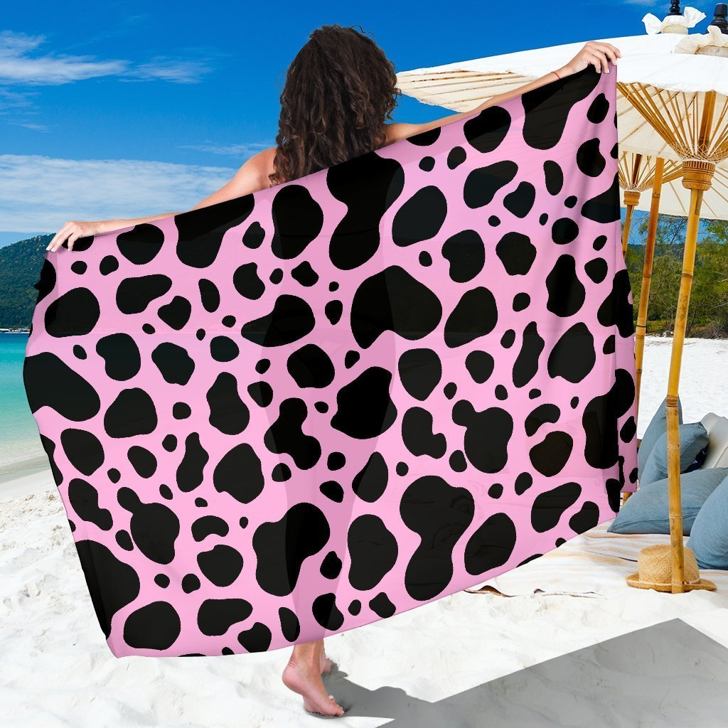 Black And Pink Cow Print Beach Sarong Wrap GearFrost