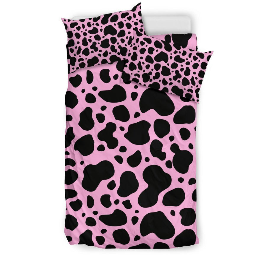 Black And Pink Cow Print Duvet Cover Bedding Set GearFrost
