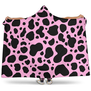 Black And Pink Cow Print Hooded Blanket GearFrost