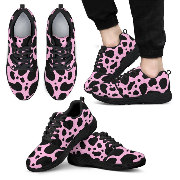 Black And Pink Cow Print Men's Athletic Shoes GearFrost