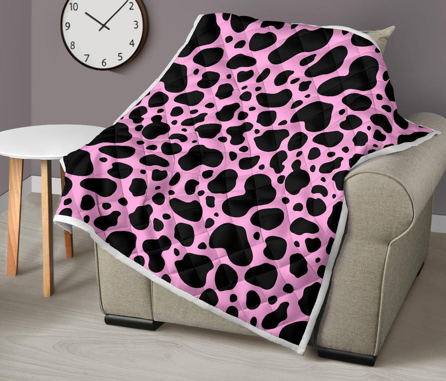 Black And Pink Cow Print Quilt GearFrost