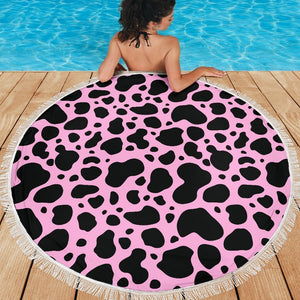 Black And Pink Cow Print Round Beach Blanket GearFrost