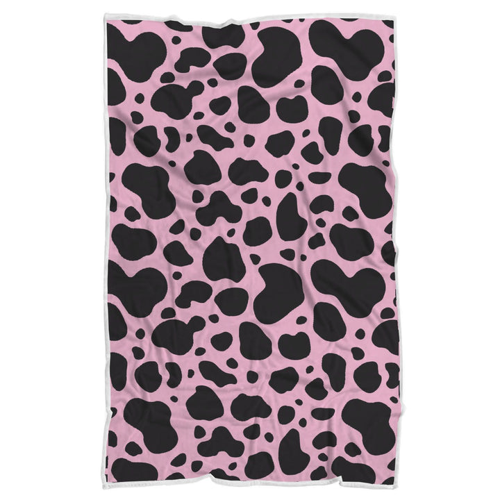 Black And Pink Cow Print Sherpa Blanket GearFrost