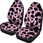 Black And Pink Cow Print Universal Fit Car Seat Covers GearFrost