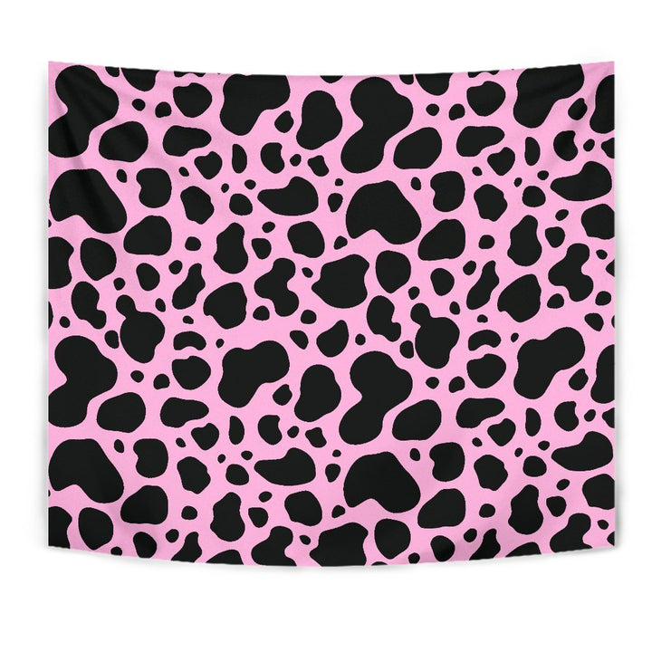 Black And Pink Cow Print Wall Tapestry GearFrost