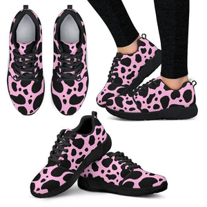 Black And Pink Cow Print Women's Athletic Shoes GearFrost