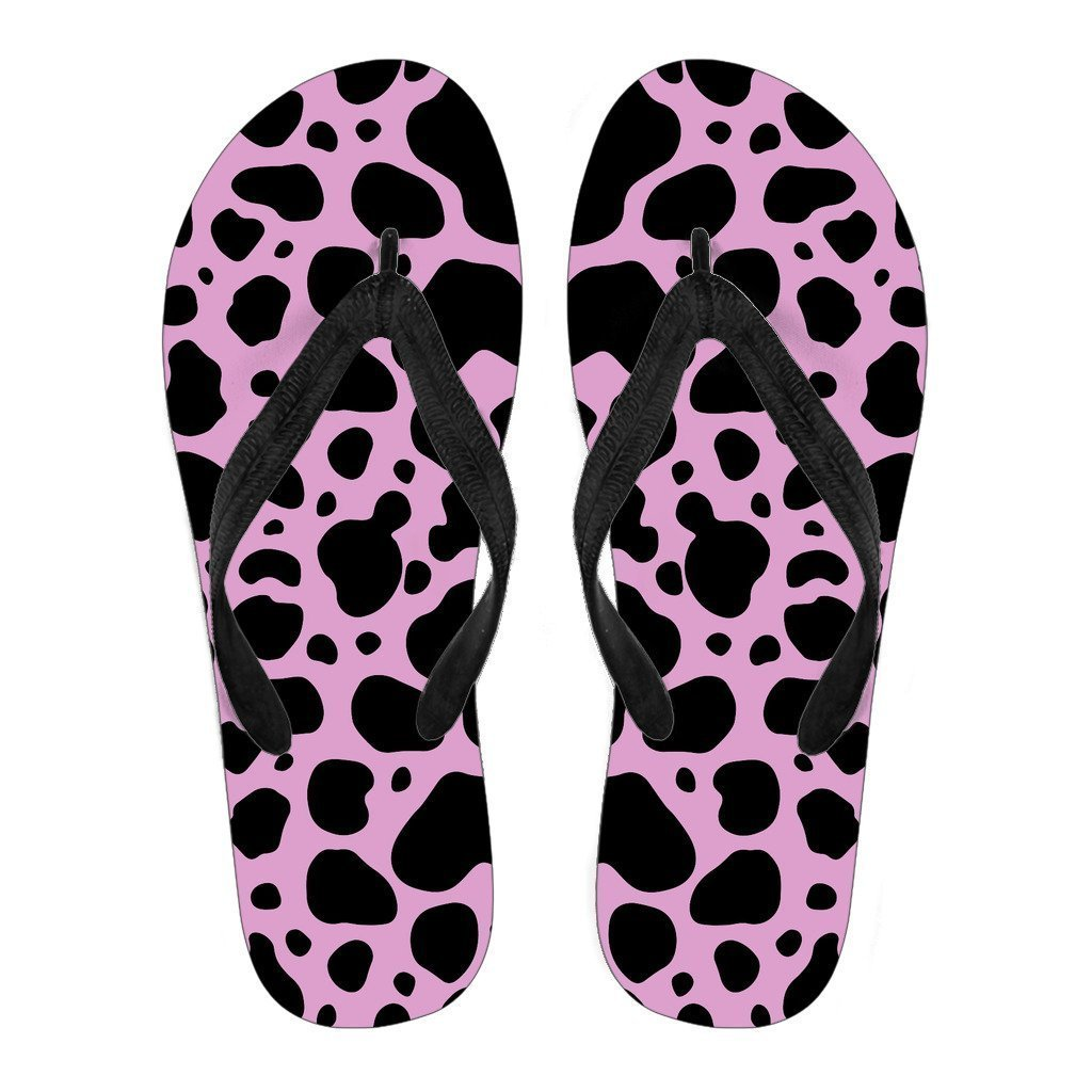Black And Pink Cow Print Women's Flip Flops GearFrost
