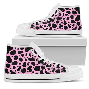 Black And Pink Cow Print Women's High Top Shoes GearFrost