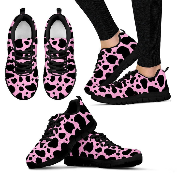 Black And Pink Cow Print Women's Sneakers GearFrost