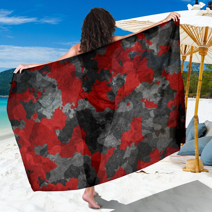 Black And Red Camouflage Print Beach Sarong Wrap GearFrost