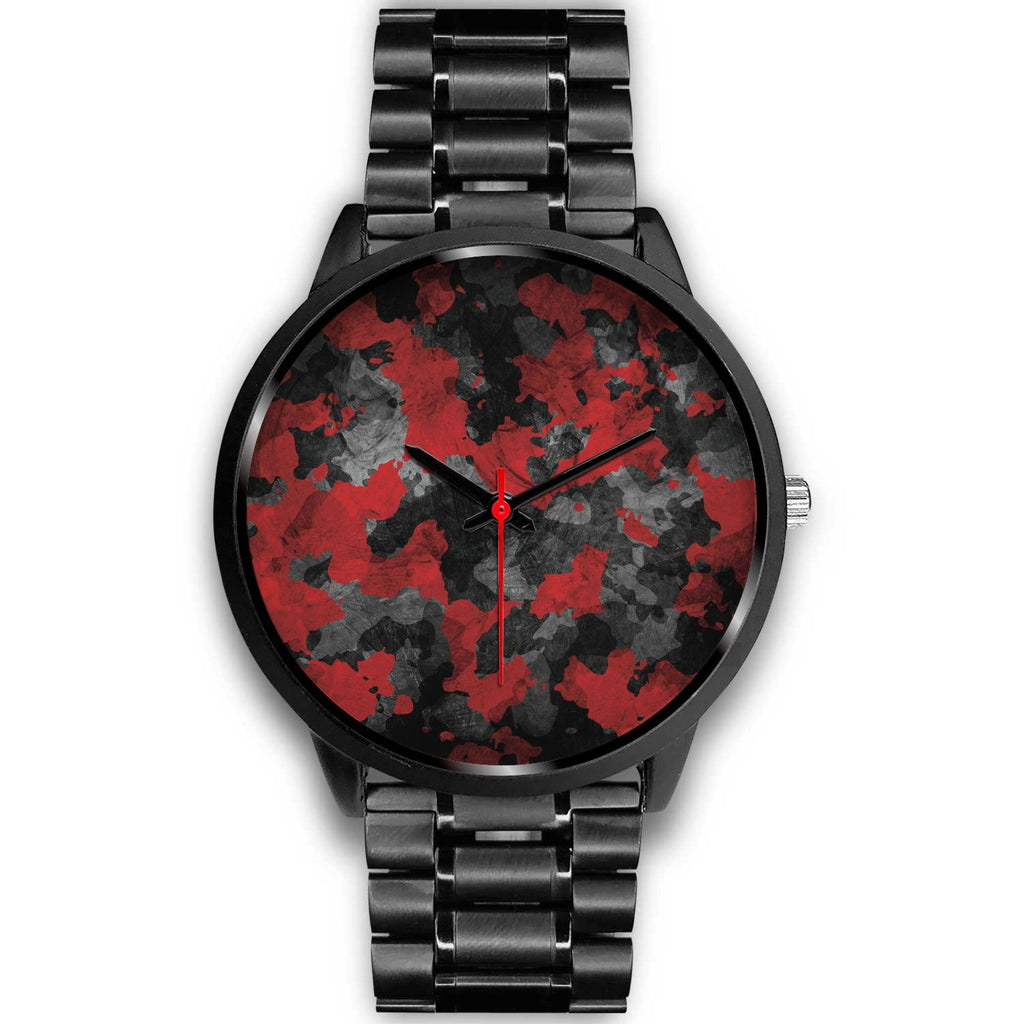 Black And Red Camouflage Print Black Watch GearFrost