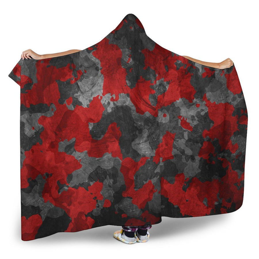 Black And Red Camouflage Print Hooded Blanket GearFrost