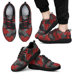 Black And Red Camouflage Print Men's Athletic Shoes GearFrost