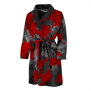 Black And Red Camouflage Print Men's Bathrobe GearFrost