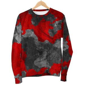 Black And Red Camouflage Print Men's Crewneck Sweatshirt GearFrost
