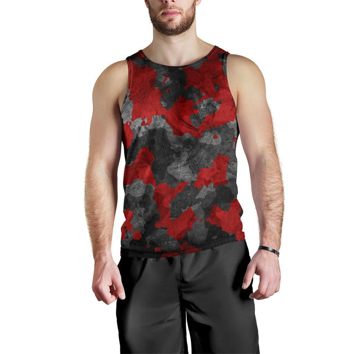 Black And Red Camouflage Print Men's Tank Top GearFrost
