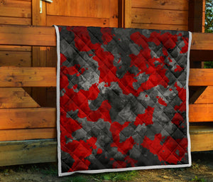 Black And Red Camouflage Print Quilt GearFrost