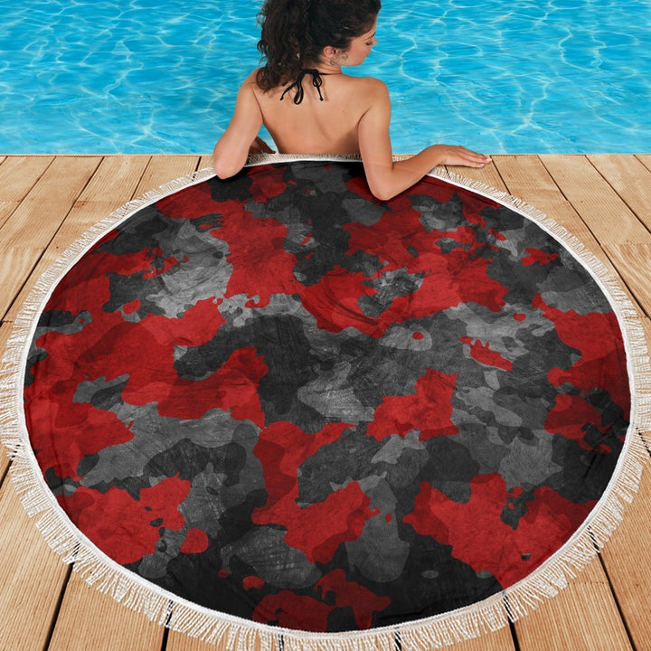 Black And Red Camouflage Print Round Beach Blanket GearFrost