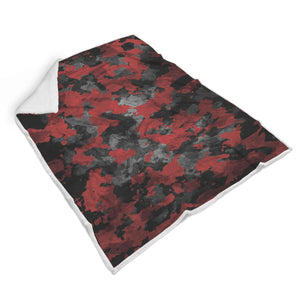 Black And Red Camouflage Print Sherpa Blanket GearFrost