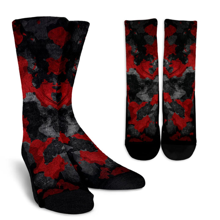 Black And Red Camouflage Print Unisex Crew Socks GearFrost